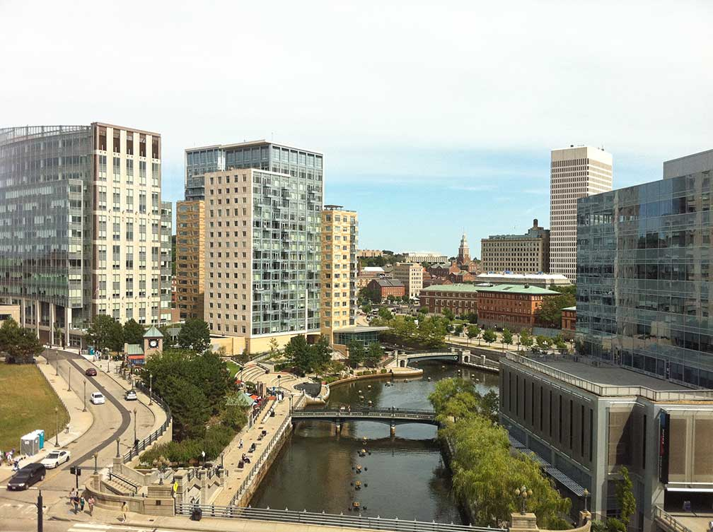 Downtown Providence overlooking Waterplace Park, Providence, Rhode Island, USA