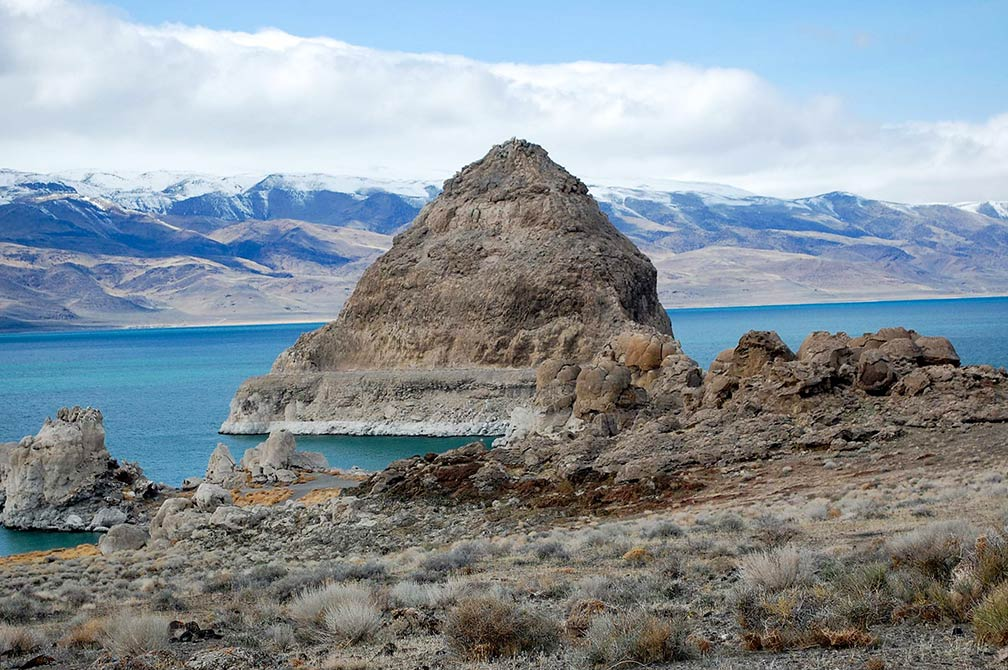 Pyramid rock formation of Pyramid Lake, Nevada