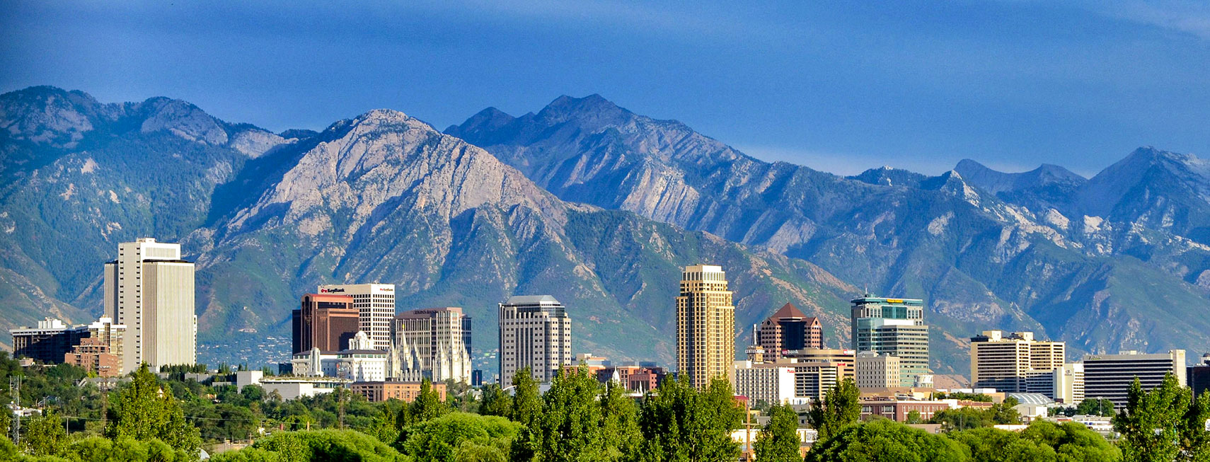 Salt Lake City skyline with Wasatch Mountain