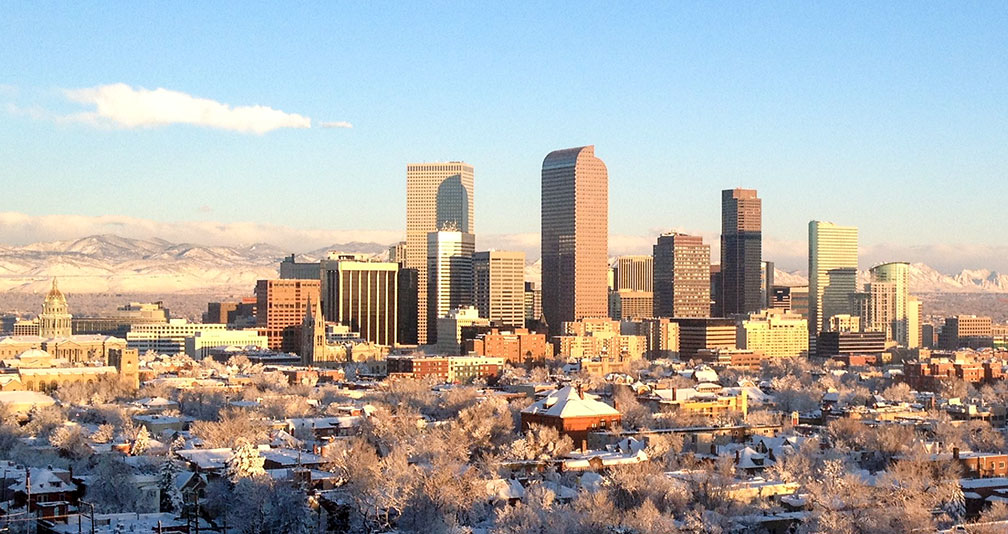 Skyline of Denver Colorado in Winter