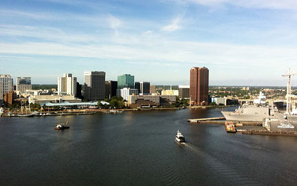 Skyline Of The City Of Norfolk Virginia