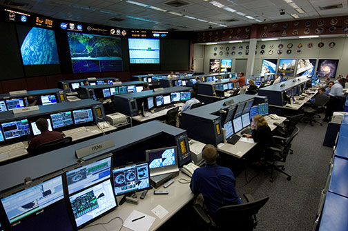 Space station flight control room in the Mission Control Center at Johnson Space Center in Housten, Texas