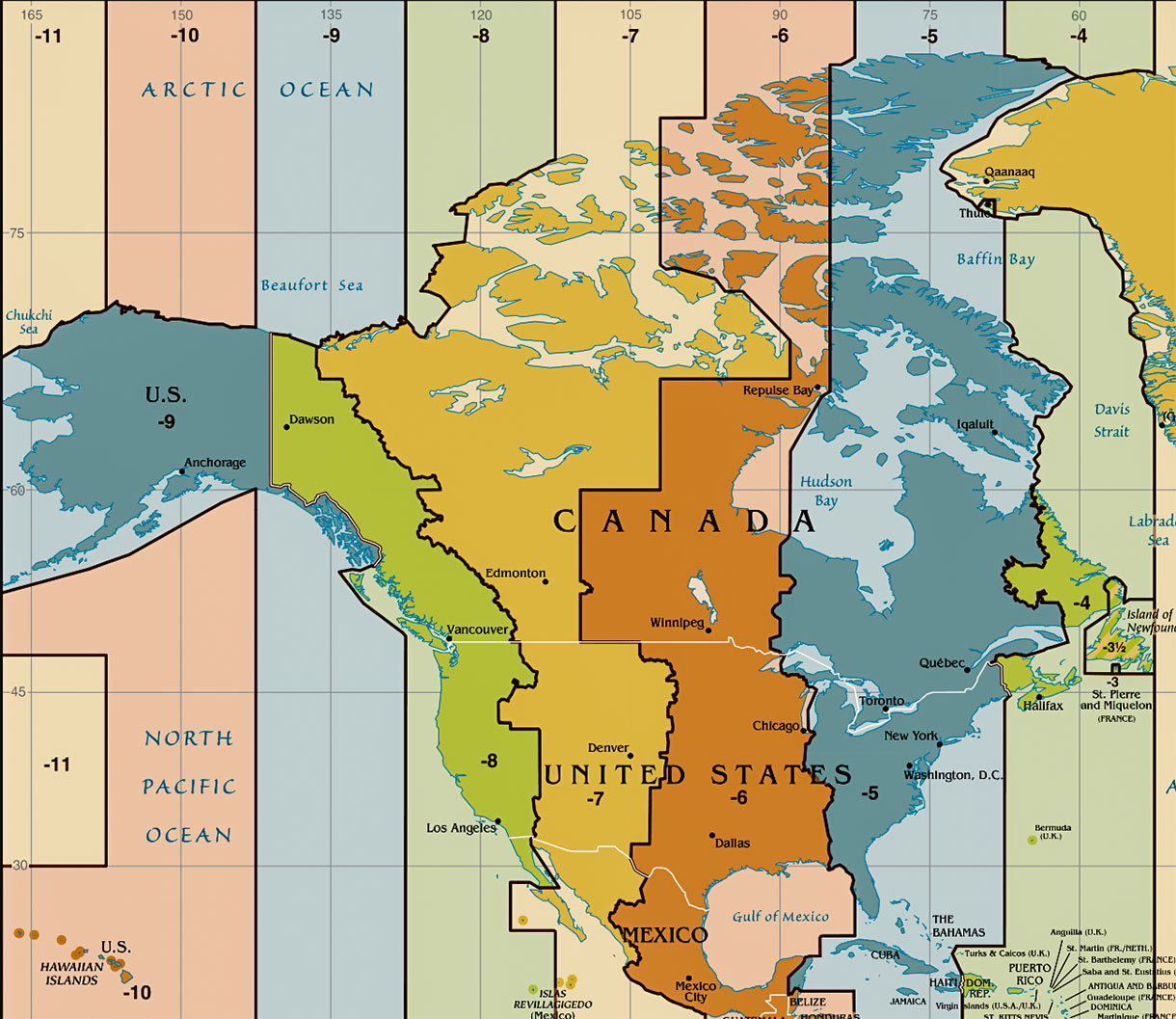 time zone map western hemisphere Time Zone Map Of The United States Nations Online Project