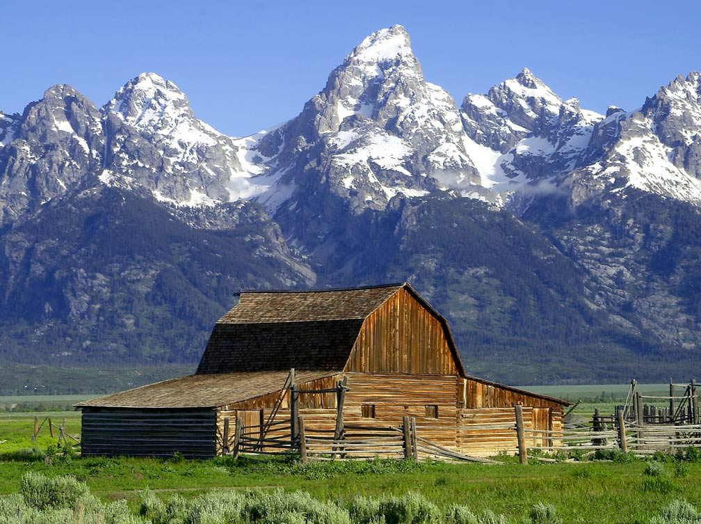 Jackson Hole, Mormon Row Historic District, John Moulton Barn, Teton Range, Wyoming