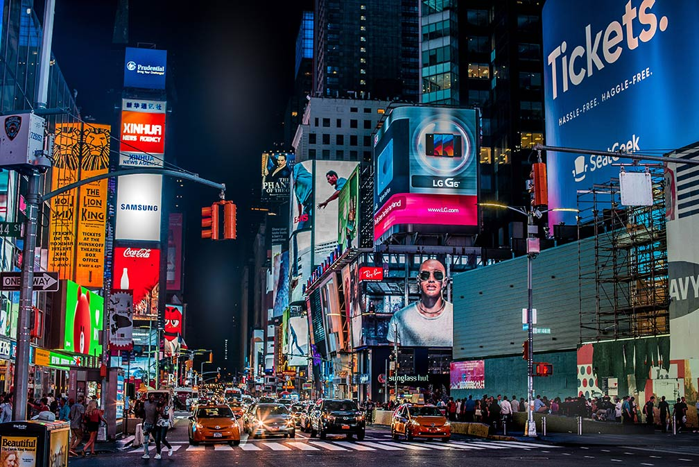 View of Times Square, New York at night