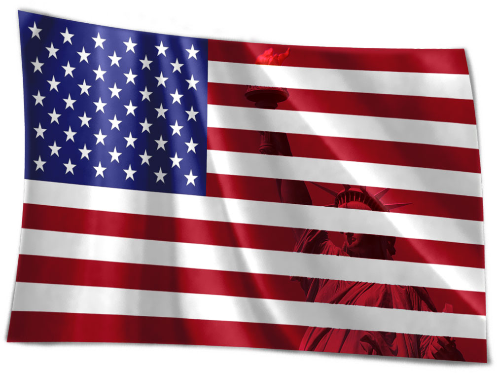 Waving Flag of the United States with liberty
