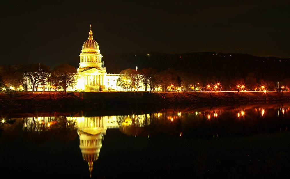 West Virginia Capitol at Night, in Charleston, West Virginia