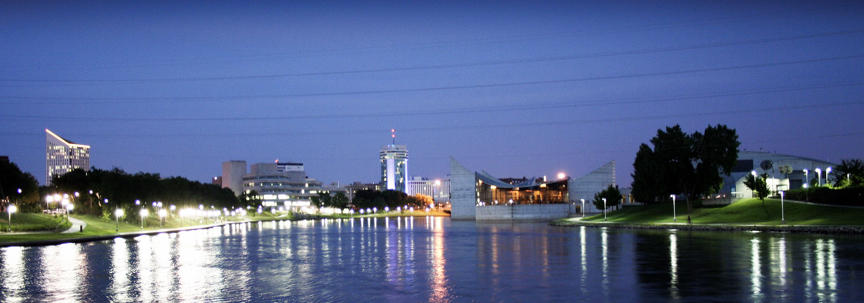 Wichita at night with Exploration Place the Arkansas River