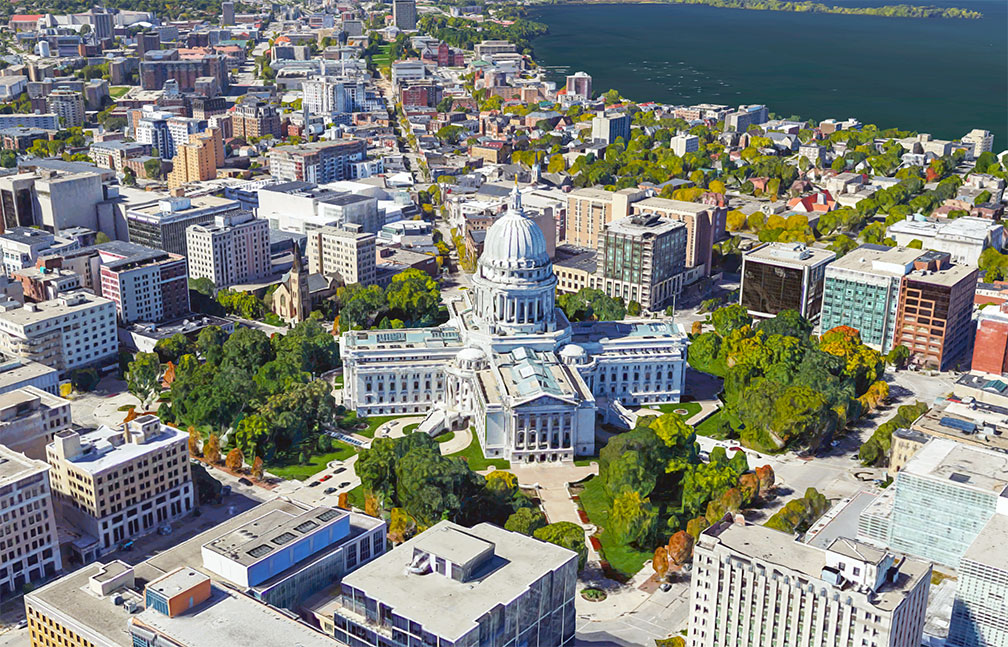 Wisconsin State Capitol, in Madison houses the state's government.