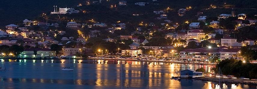 Charlotte Amalie, Saint Thomas Harbor at night
