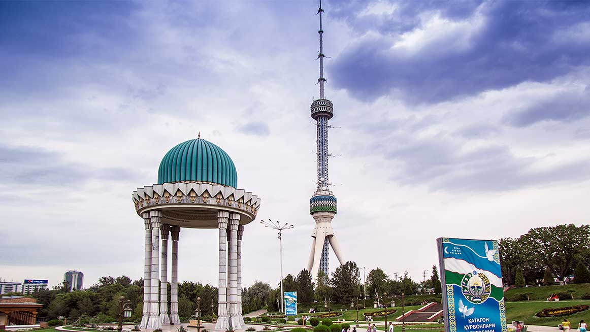 Tashkent panorama with Tashkent TV Tower in Central Park
