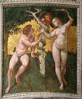 Adam and Eve, Fresco by Raphael, Vatican City