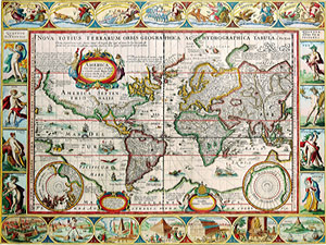 Continents of the world africa the americas asia australia map of the world by pieter van den keere gumiabroncs Images