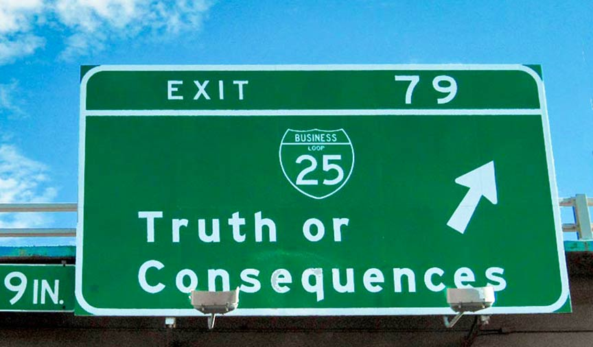 Road sign Truth or Consequences