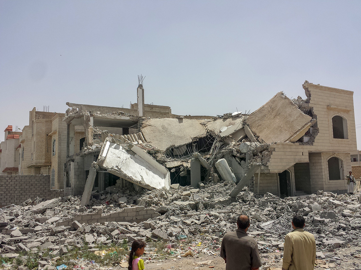 Destroyed house in Sanaa hit by a Saudi-led air strike.