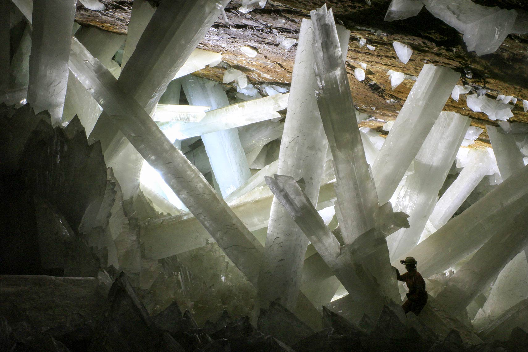 Gypsum crystals in the Naica cave, Chihuahua, Mexico