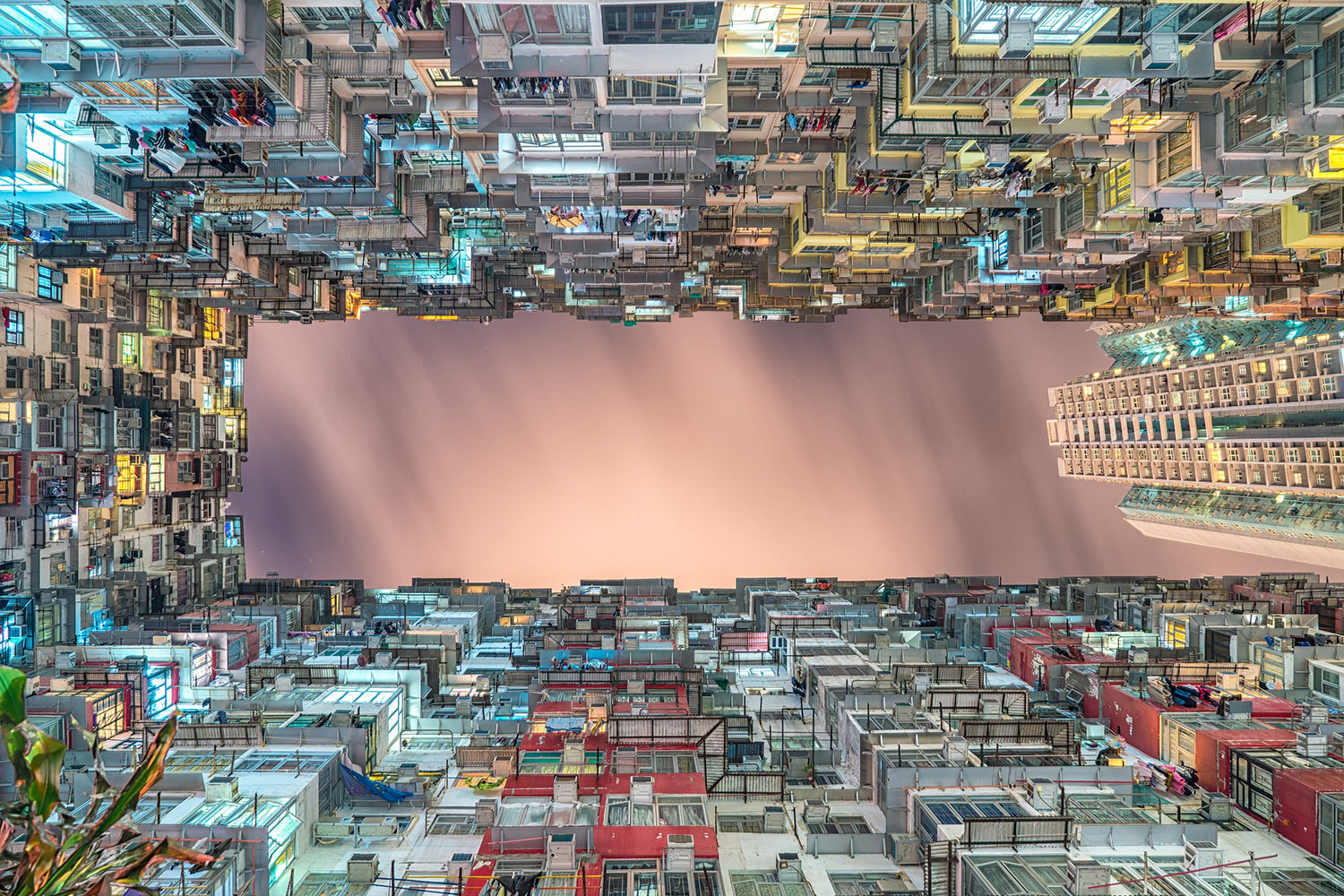 View of a city block courtyard in Hong Kong, a Special Administrative Region of the People's Republic of China