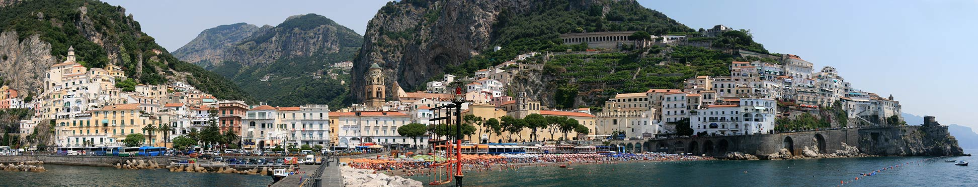 Panoramic view of Amalfi with the Amalfi Cathedral in Southern Italy