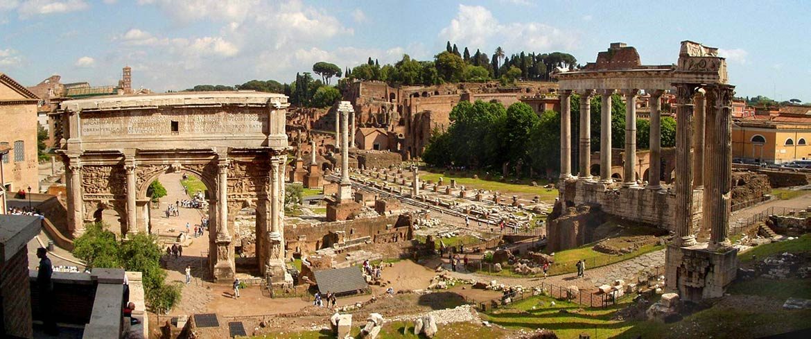 Several ruins in the Forum Romanum (Roman Forum) in Rome, Italy