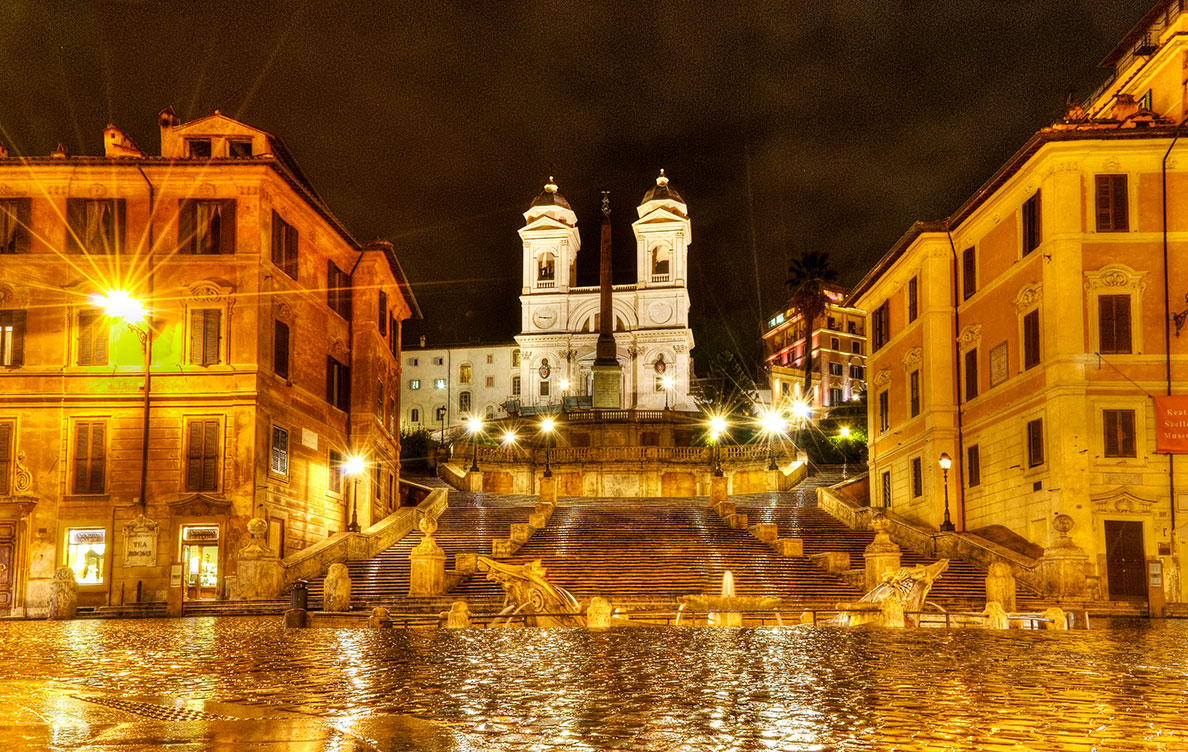 Piazza di Spagna in Rome with view of the Spanish Steps