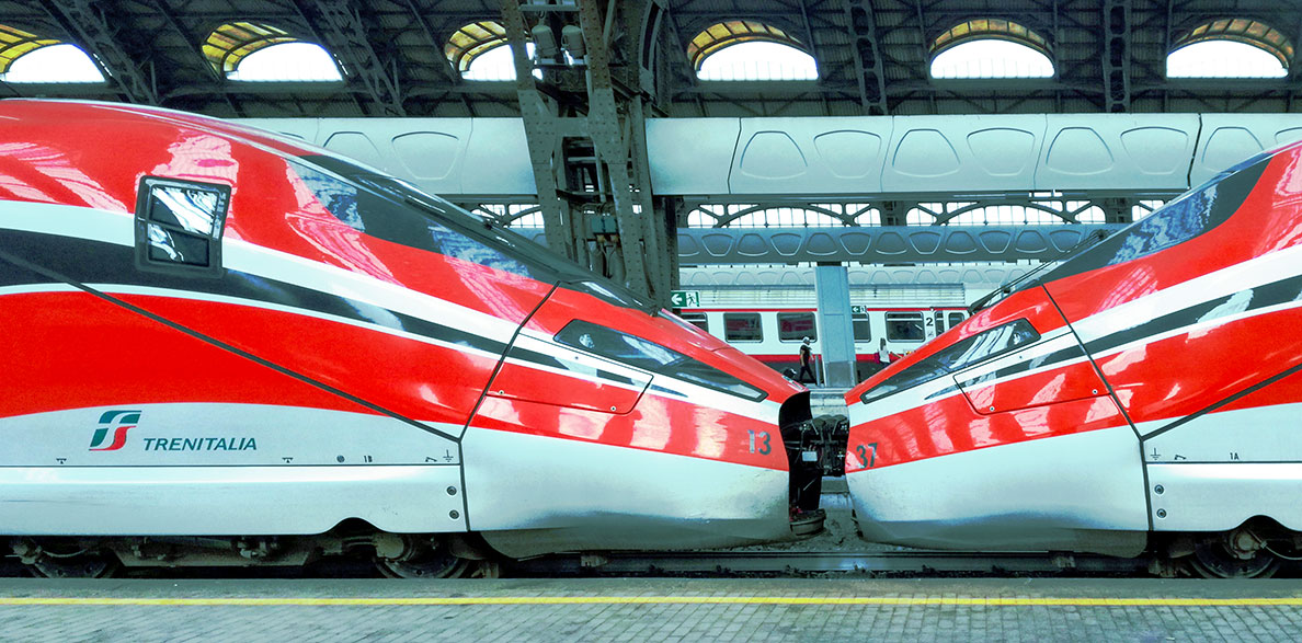 Frecciarossa 1000 high-speed train at Milano Centrale Railway Station