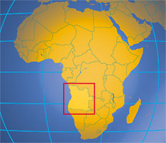 Location map of Angola. Where in Africa is Angola?