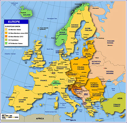 Map of Countries in Europe