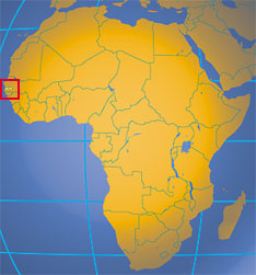 Location map of Gambia. Where in Africa is The Gambia?