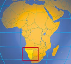 Location of Namibia in Africa. Where in Africa is Namibia?