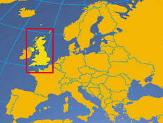 Location map of the United Kingdom. Where in Europe is the United Kingdom?