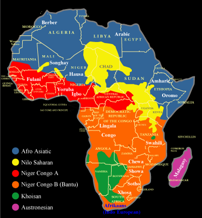 Map showing the distribution of African language families and some major ...