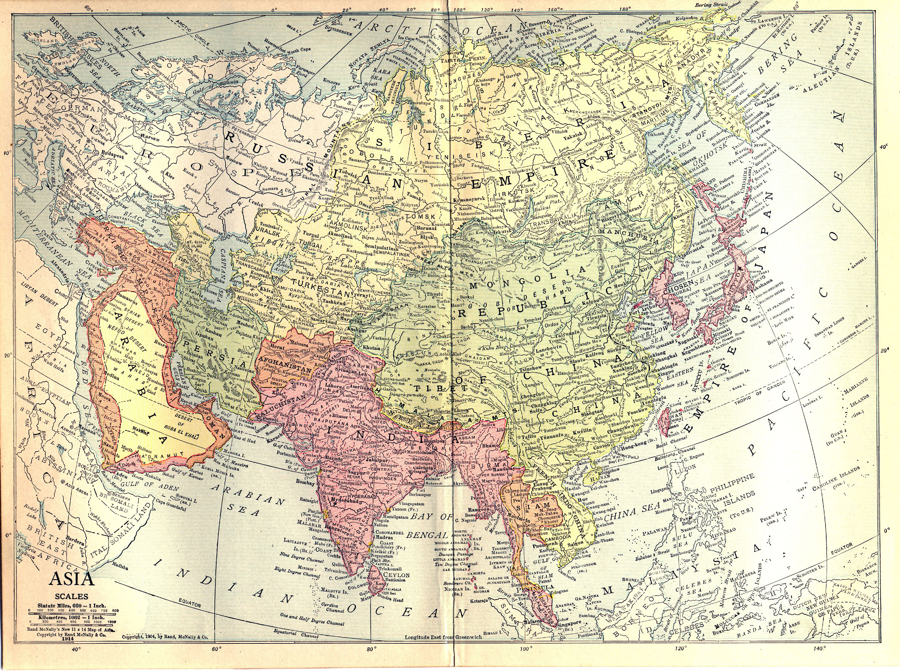 Historical Map of Asia - Asia in Year 1914 - Nations Online Project