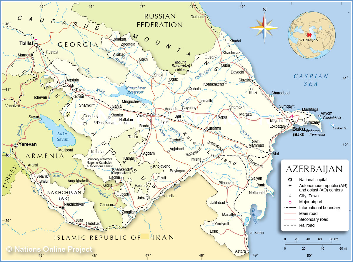 Map Of Azerbaijan Political Map of Azerbaijan   Nations Online Project