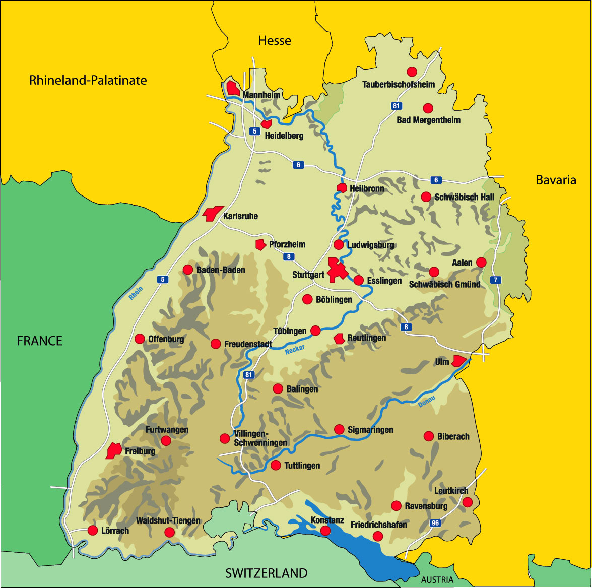 Contact Capital One >> Map of Baden-Württemberg - Nations Online Project
