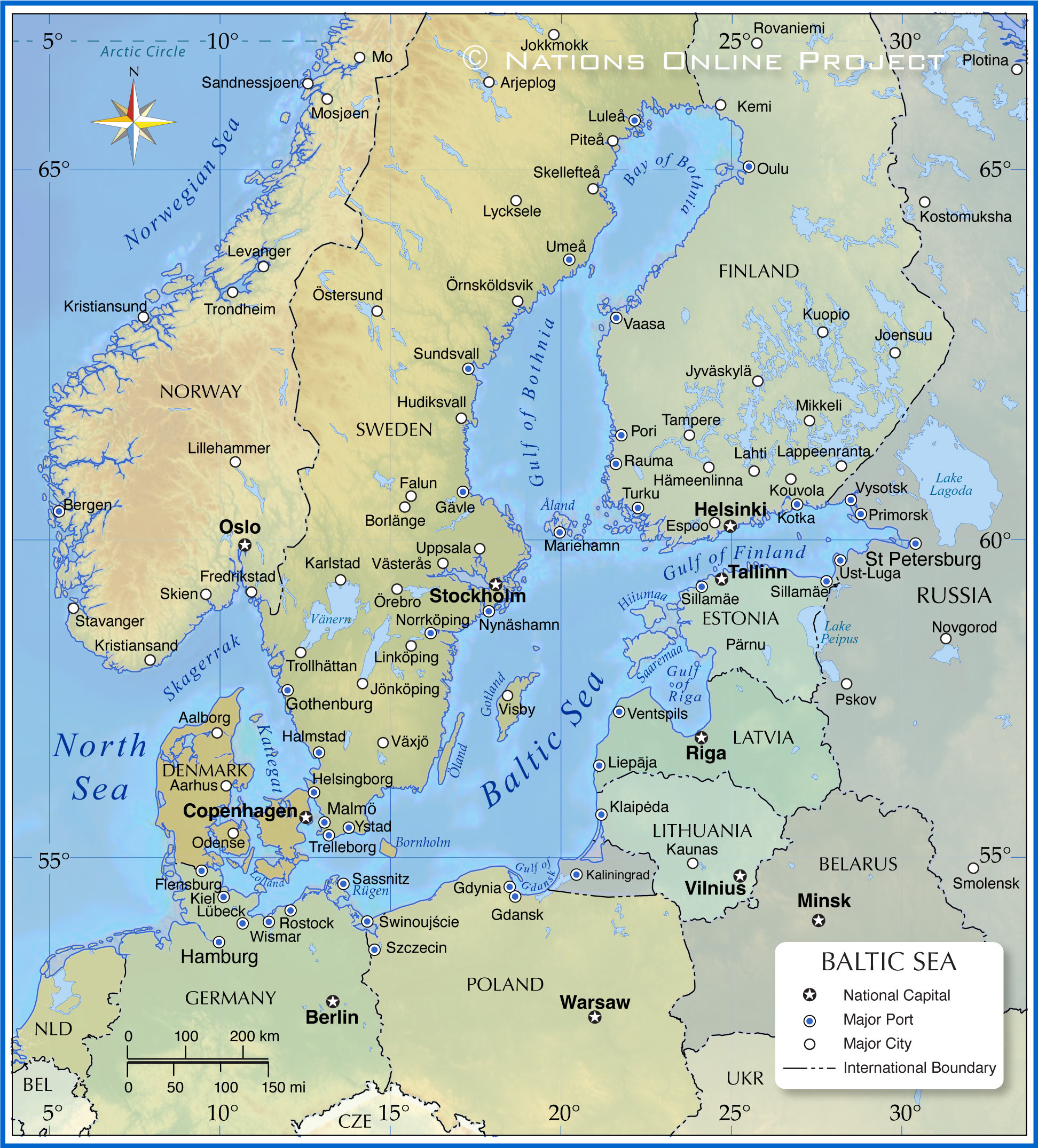 Map of the Baltic Sea Region   Nations Online Project