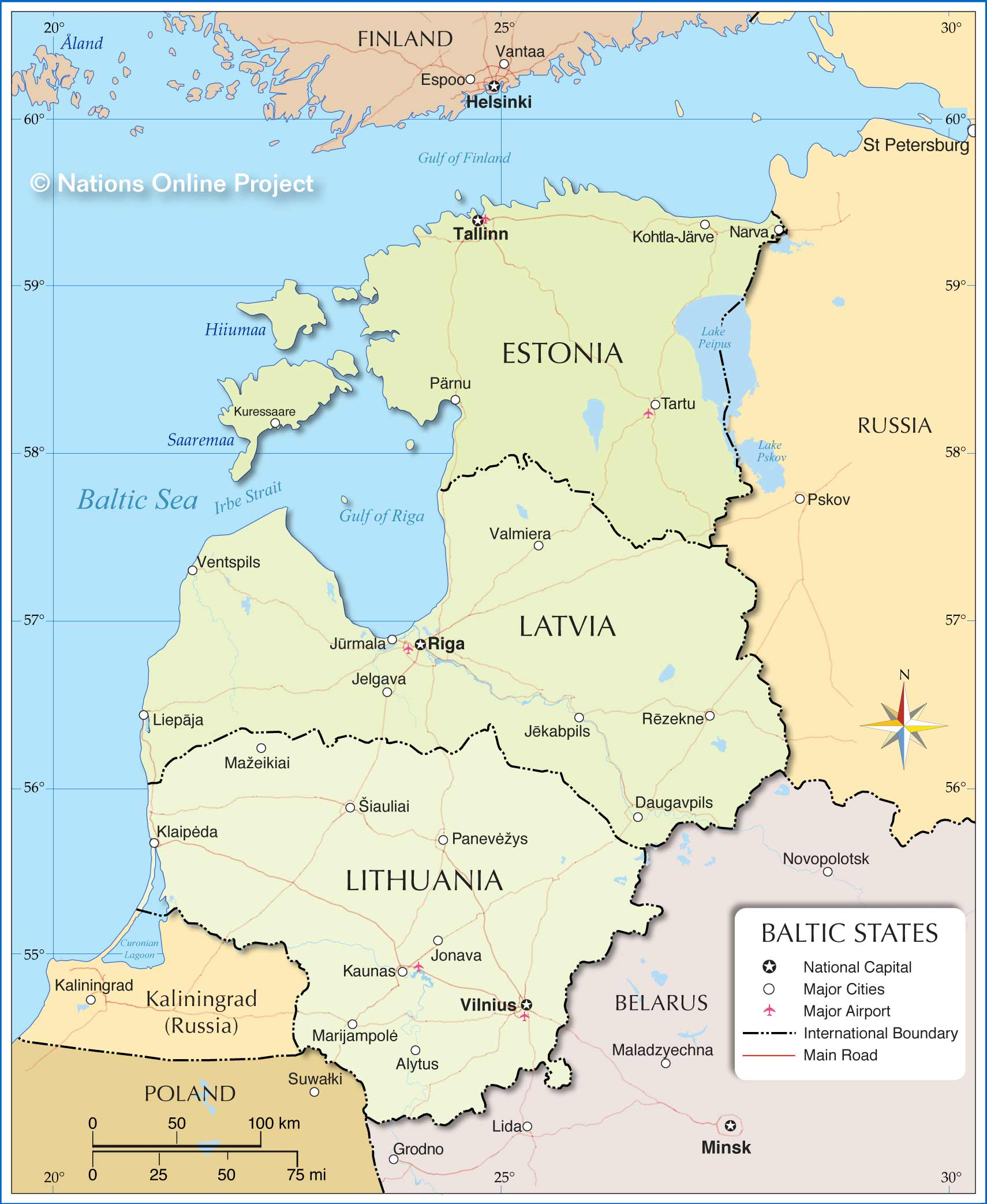 Map of the baltic states nations online project map of the baltic countries gumiabroncs Choice Image