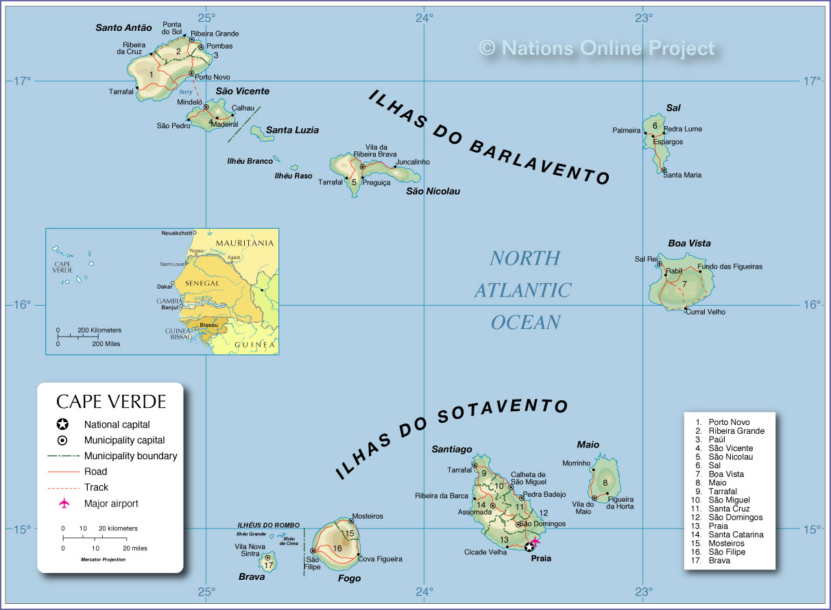 Administrative Map Of Cape Verde Pixel Nations Online Project - Cape verde map