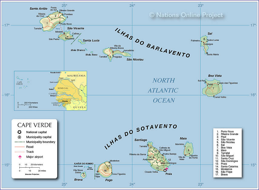 Map Of Cape Verde Map of Cape Verde   Nations Online Project