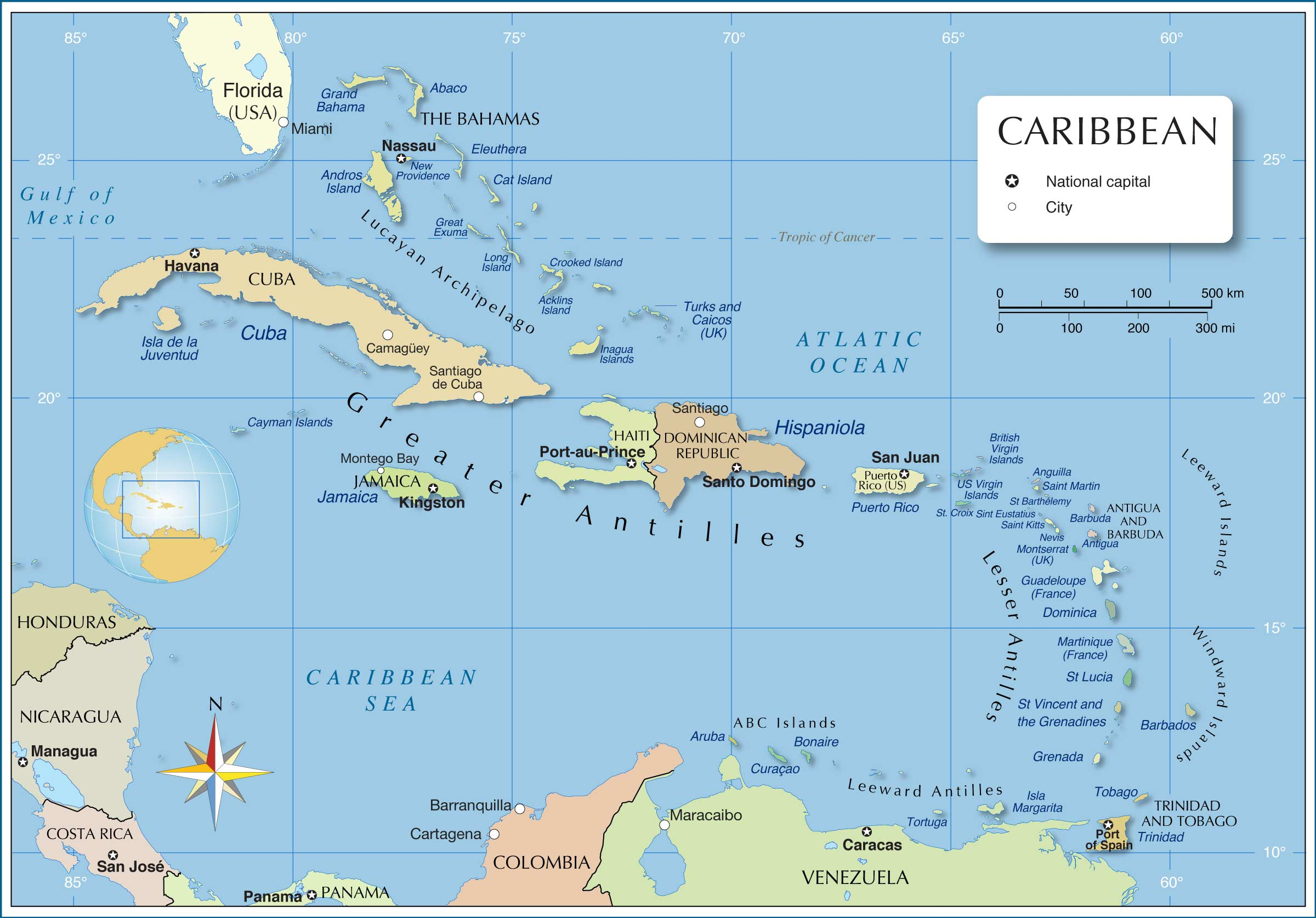 A Map Of The Caribbean Political Map of the Caribbean   Nations Online Project