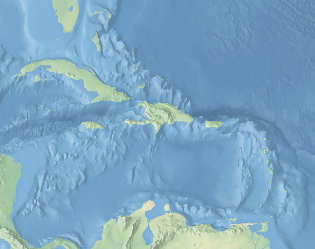 Topographic map of the Caribbean