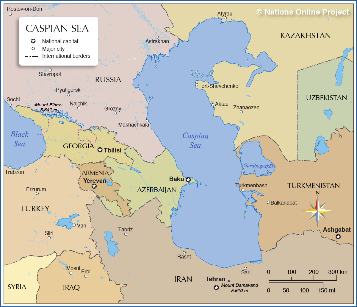 Caspian Sea On Map Map of the Caspian Sea   Nations Online Project Caspian Sea On Map