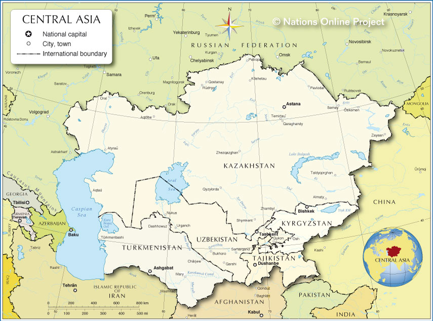 Small Map Of Central Asia Nations Online Project - Central asia political map