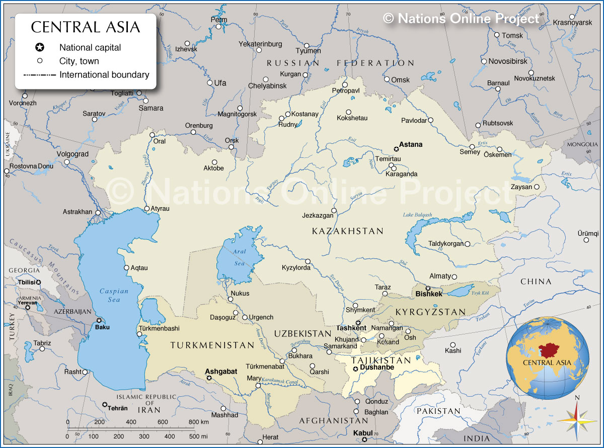 map showing the countries of central asia and adjacent countries with borders capitals and main cities