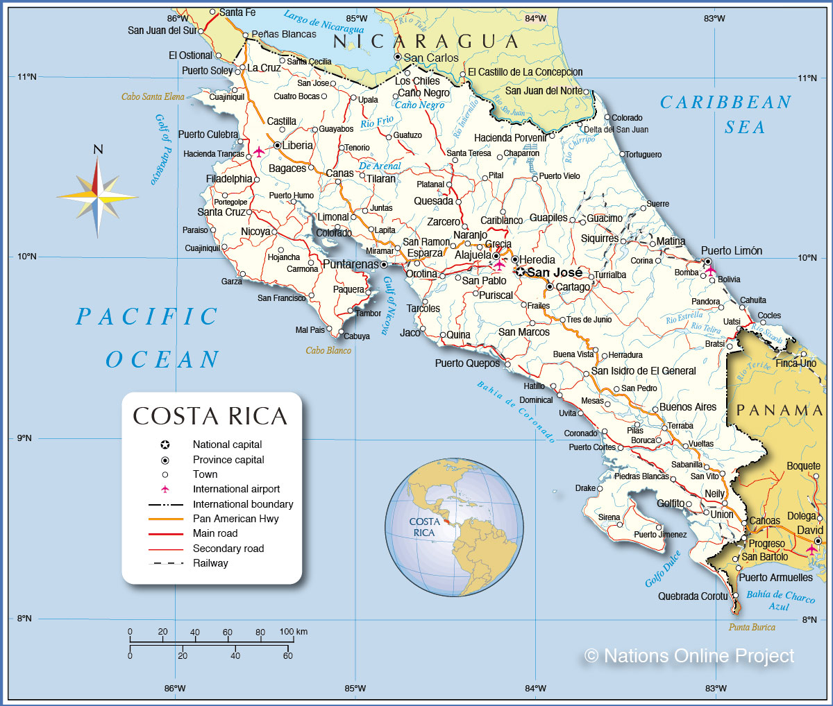 Costa Rica Map Detailed Map of Costa Rica   Nations Online Project Costa Rica Map