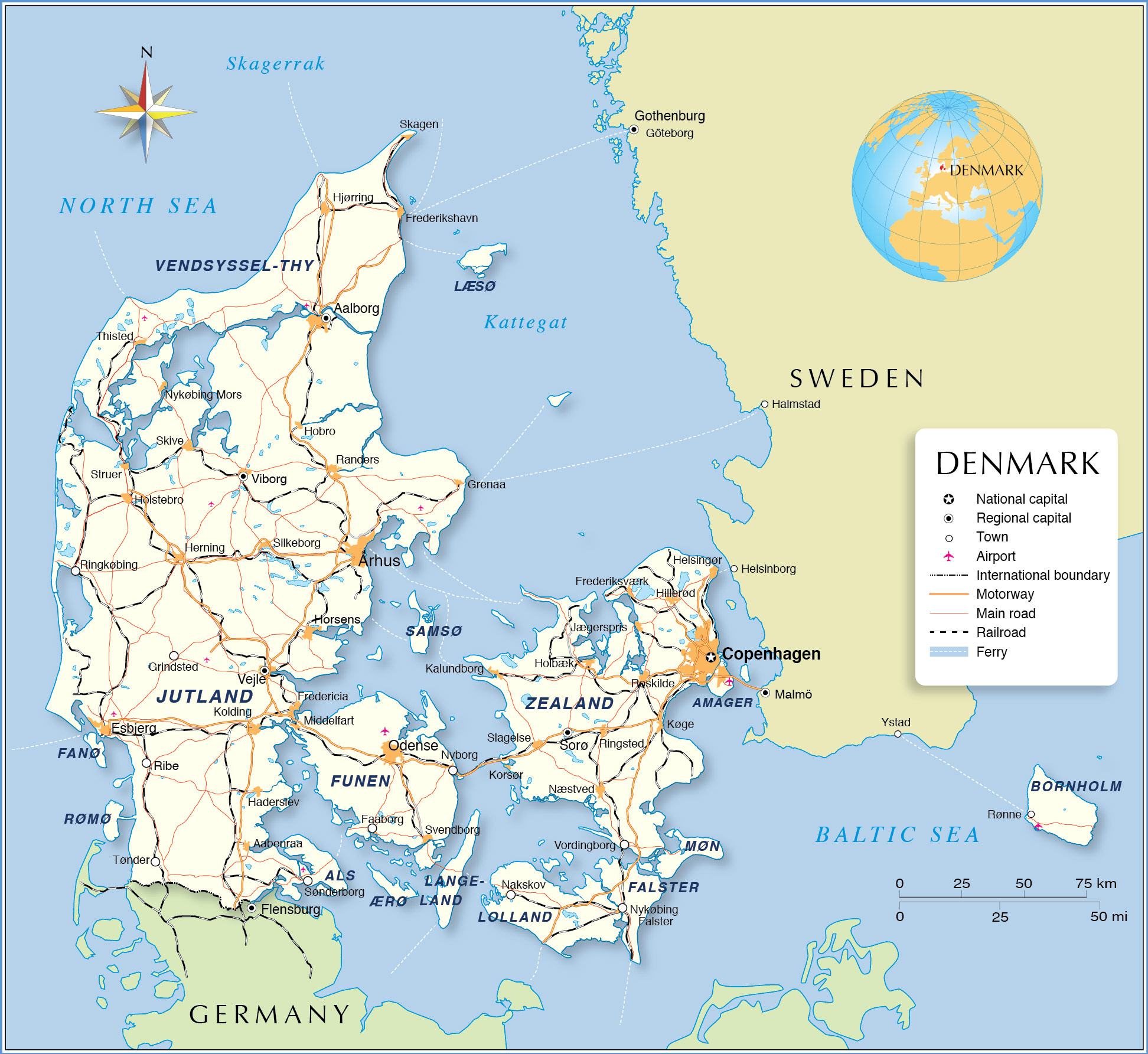 Political Map Of Denmark Nations Online Project - Sweden map airports