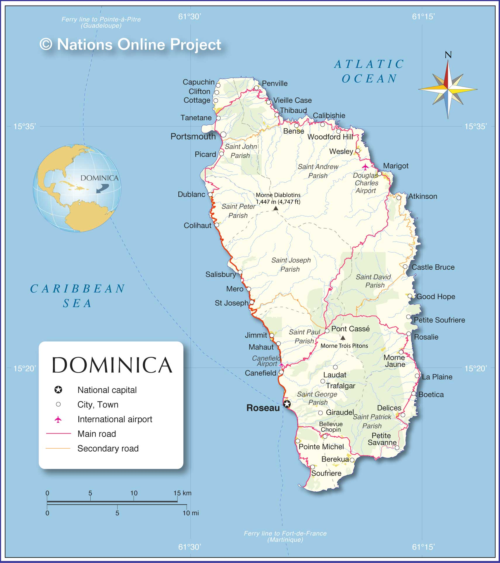 Map of Dominica Nations Online Project