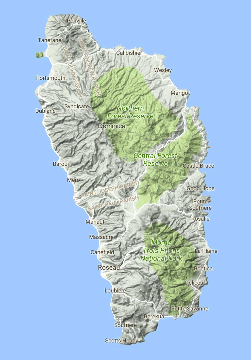 Topographic map of Dominica