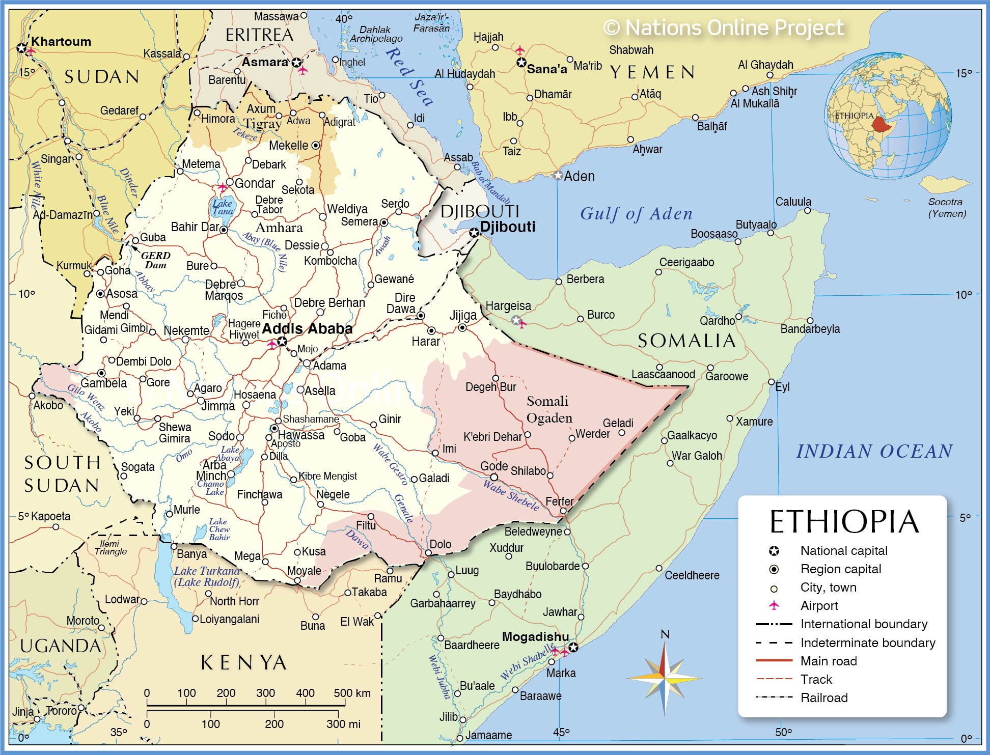 Political Map of Ethiopia with international borders, the national capital Addis Ababa, region capitals, major cities, main roads, railroads, and major airports