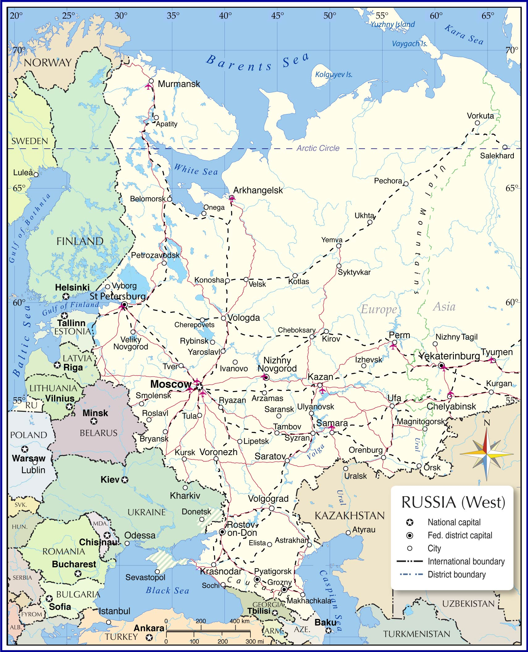 Map Of European Russia Nations Online Project