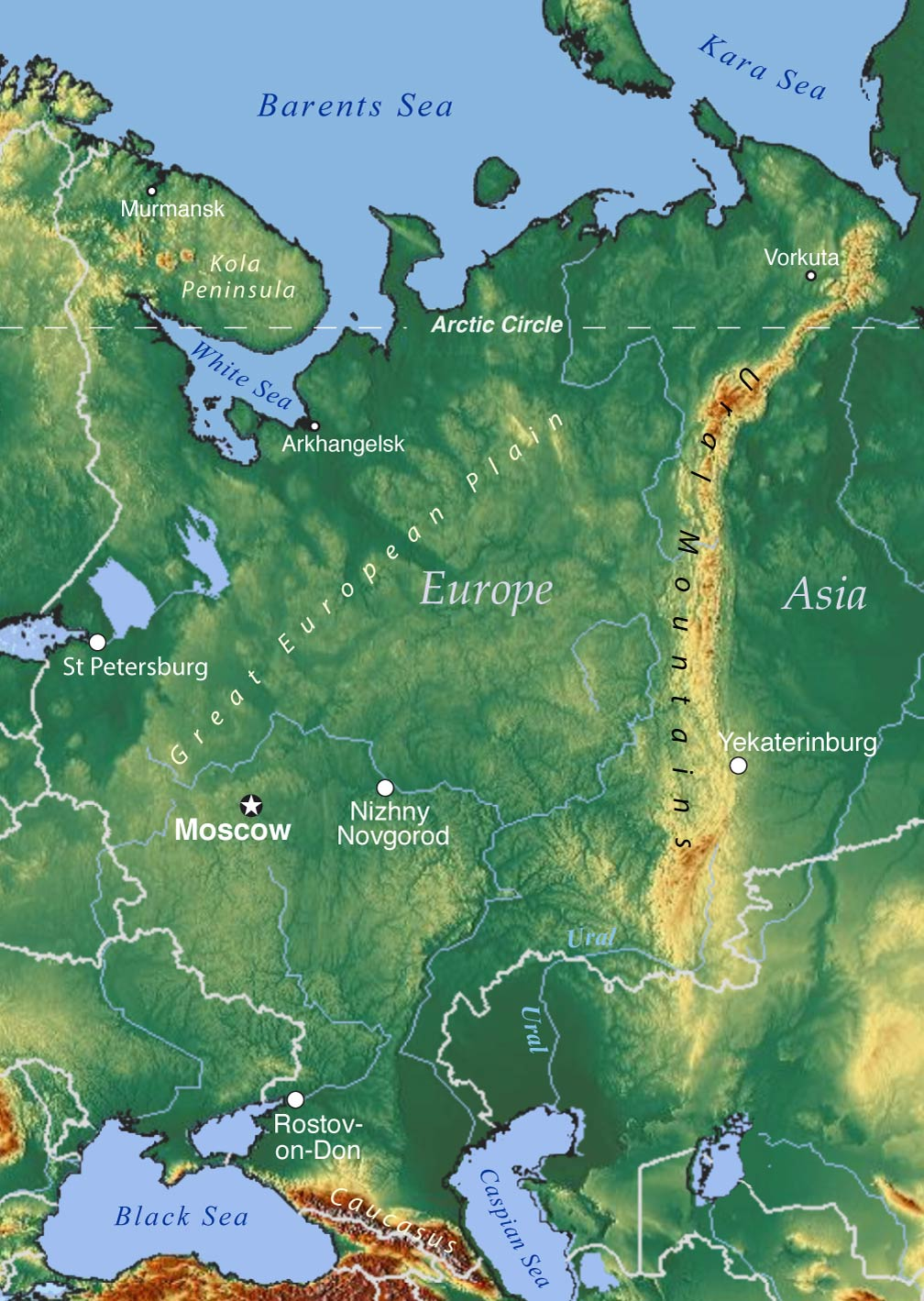 topographic map of european russia with ural mountains and the ural river